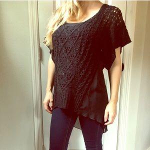 BCBG Black Crochet Blouse